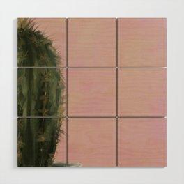 Pink Cactus, Impressionist Digital Painting Wood Wall Art