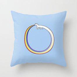 Ouroboros Unicorn Rainbow Vomit Throw Pillow