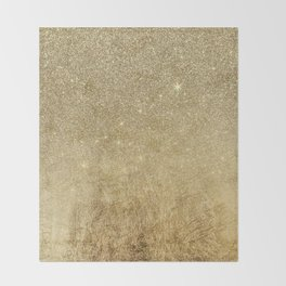 Girly Glamorous Gold Foil and Glitter Mesh Throw Blanket