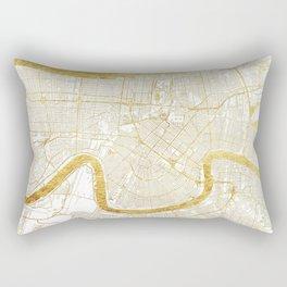 New Orleans Map Gold Rectangular Pillow