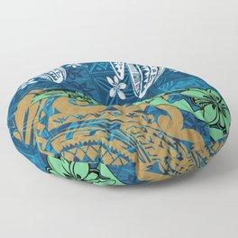 Polynesian - Samoan - Blue Hawaii Tribal Threads Print Floor Pillow
