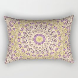 No. 8 Wisteria Lane Mandala Kaleidoscope -- Purple and Gold Rectangular Pillow