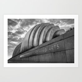 Kansas City Performing Arts Center with Perspective - Black and White Art Print