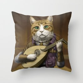 Bard Cat Throw Pillow