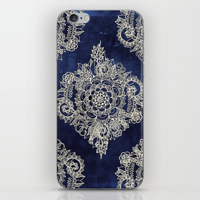 Cream Floral Moroccan Pattern on Deep Indigo Ink iPhone Skin