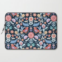 Happy Folk Summer Floral on Navy Laptop Sleeve