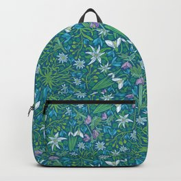 Edelweiss flowers with hellebore and snowdrops on blue background Backpack
