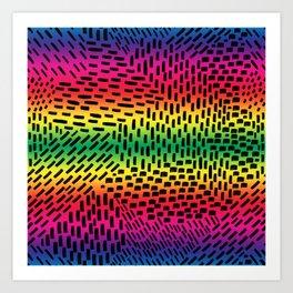 Abstract Brush Strokes on Rainbow Gradient Art Print