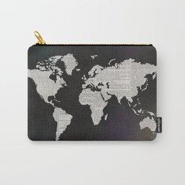 Newsprint World Map Carry-All Pouch
