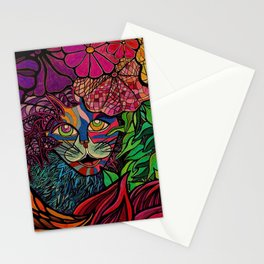 Tiger in tropical jungle design by Maru Cat Kitty Feline Animal lovers Stationery Cards
