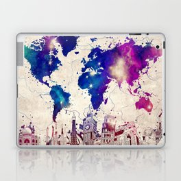 world map city skyline galaxy 2 Laptop & iPad Skin