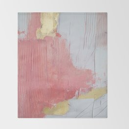 Melody: a pretty minimal abstract painting in gold pink and white by Alyssa Hamilton Art Throw Blanket