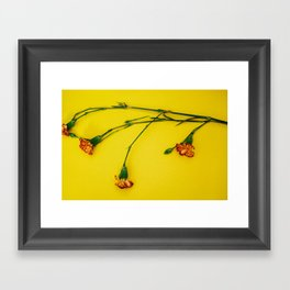 Flowers on Yellow Framed Art Print