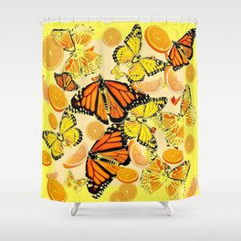 YELLOW MONARCH BUTTERFLY  & ORANGES MARMALADE Shower Curtain