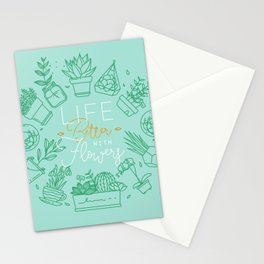 Monogram pots life better with flowers turquoise Stationery Cards