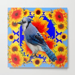 BLUE JAY & GOLDEN SUNFLOWERS WILDLIFE ART Metal Print