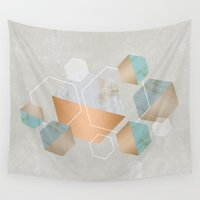 concrete Wall Tapestries featuring Honeycomb Concrete by cafelab