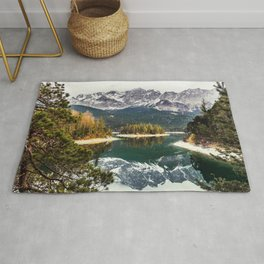 Green Blue Lake, Trees and Mountains Rug
