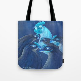 Henpecked In Blue Tote Bag