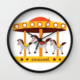 carousel amusement park Wall Clock