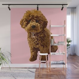 Ginger the toy poodle, a vision in pink Wall Mural