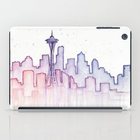 seattle iPad Cases featuring Seattle by Olechka