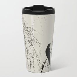 Crow in the Willow - Graphic Birds Series, Plain - Modern Home Decor Travel Mug