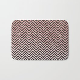 Chic modern black pink faux glitter chevron pattern Bath Mat