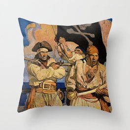 """""""Pirates"""" Treasure Island Cover by NC Wyeth Throw Pillow"""