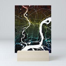 Philadelphia, PA, City Map - Colourful Mini Art Print