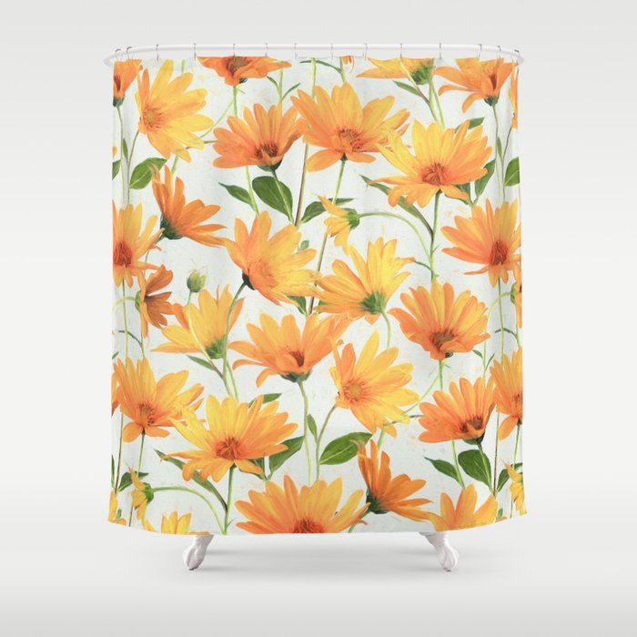 painted radiant orange daisies on off white shower curtain by micklyn society6. Black Bedroom Furniture Sets. Home Design Ideas
