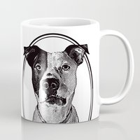 pit bull Mugs featuring Pit Bull with oval frame by George Peters