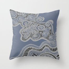 Just a Squiggle Here and There - Blue Throw Pillow