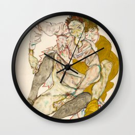 "Egon Schiele ""Seated Couple"" Wall Clock"