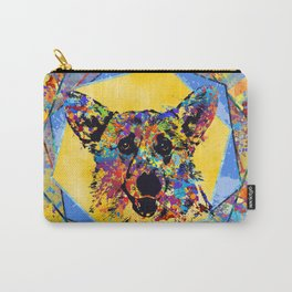 Colorful Corgi Portrait Abstract Mixed Media Carry-All Pouch