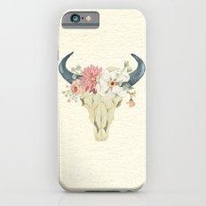 Bull skull floral tribal watercolor iPhone 6s Slim Case