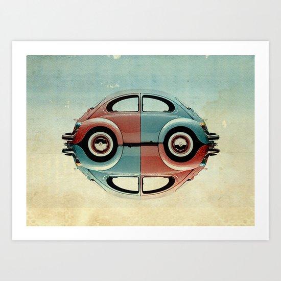checkered 4 speed - VW beetle  Art Print