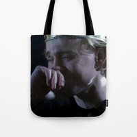 tom hiddleston Tote Bags featuring Prince Hal - Tom Hiddleston by Kate Dunn