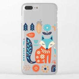 Soft And Sweet Scandinavian Fox Folk Art Clear iPhone Case