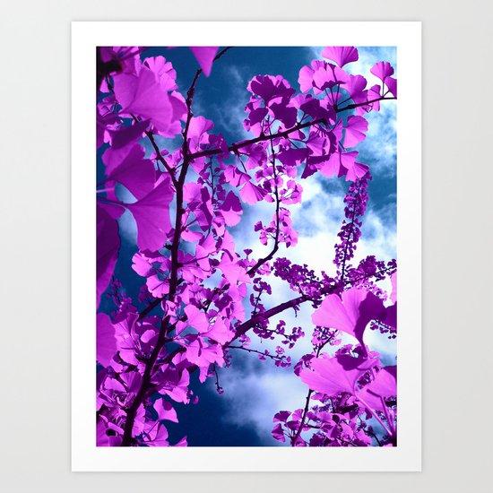 purple ginkgo tree VII Art Print