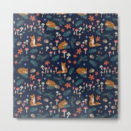 Fox and Hedgehog in Toadstool Woods In Blue Metal Print