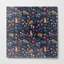 Fox and Hedgehog in Toadstool Woods In Blue Metal Print
