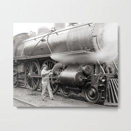Engineer Oiling Locomotive, 1904. Vintage Photo Metal Print