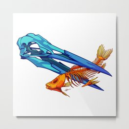 Heron and Goldfish Metal Print