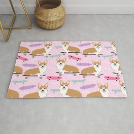 corgi skateboard dog, dog - corgi, corgi blanket,corgi decor, corgis, cute dog Rug