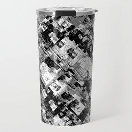 Black and White Patchwork Grunge Travel Mug