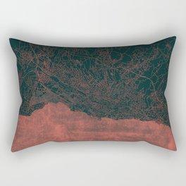 Lausanne Map Red Rectangular Pillow