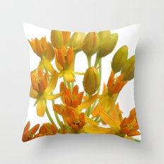 Little Orange Flowers Throw Pillow