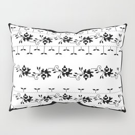 Traditional Romanian folk art knitted embroidery pattern Pillow Sham
