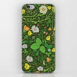 Yellow buttercup and daisies with wild strawberries on grass iPhone Skin